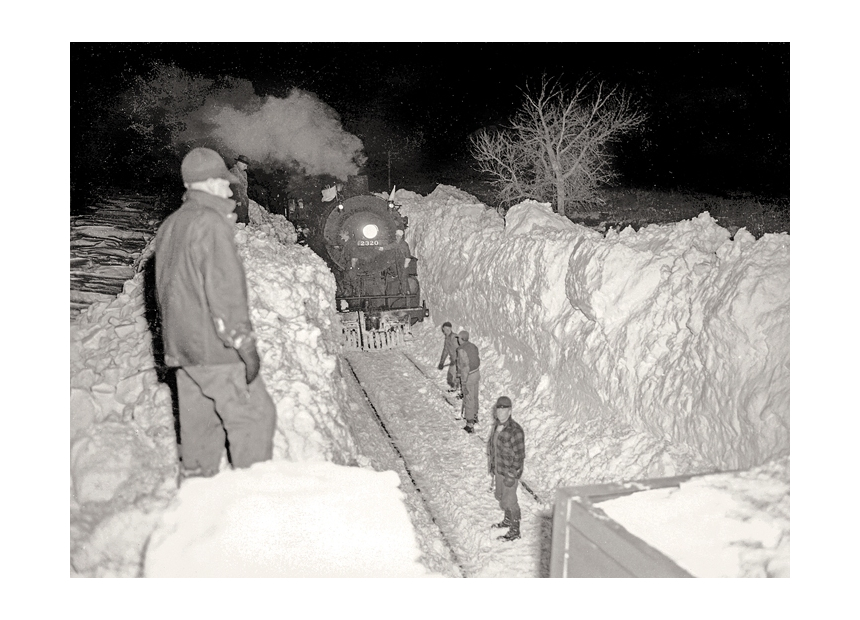 Powerful railroad locomotives were no match against repeat blizzards in 1948 and 1949. - NEBRASKA STATE HISTORICAL SOCIETY